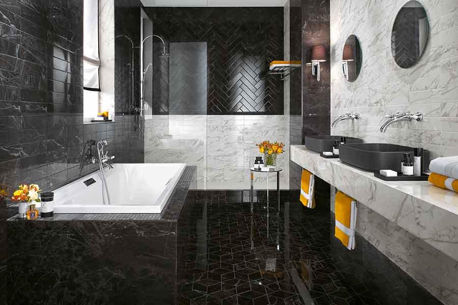 Bagni In Marmo Nero : Gres porcellantato effetto marmo ritorna nelle case mam ceramiche